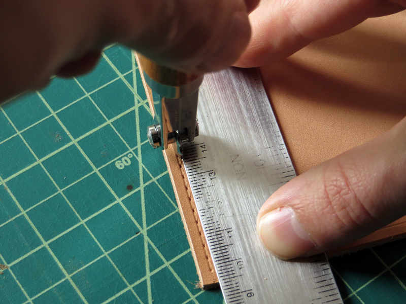 Leather stitching wheel guide