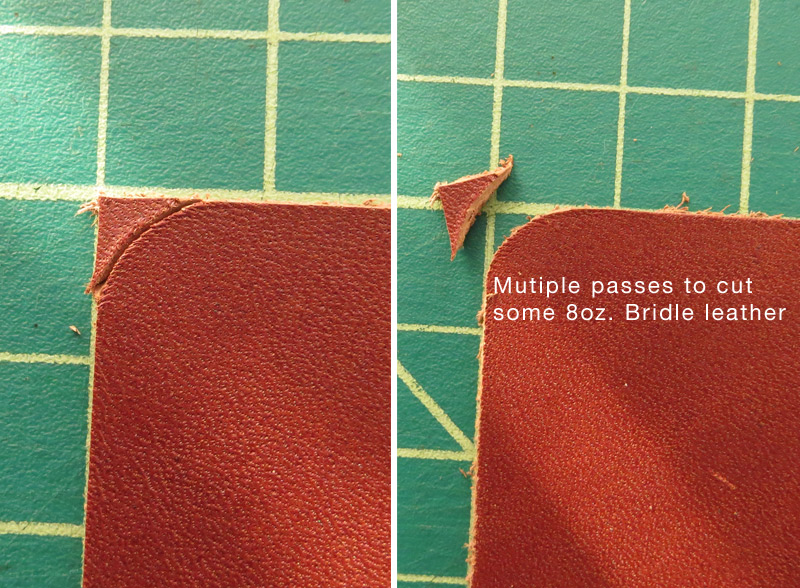 Multiple passes cutting leather curves