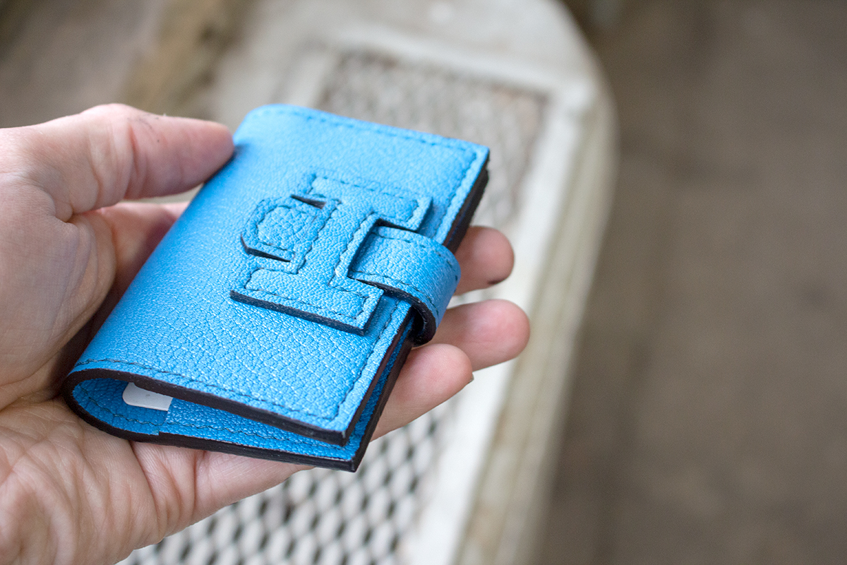 Making a luxury Hermes style leather card holder