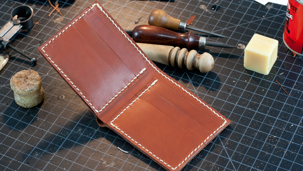 leather bi-fold wallet template
