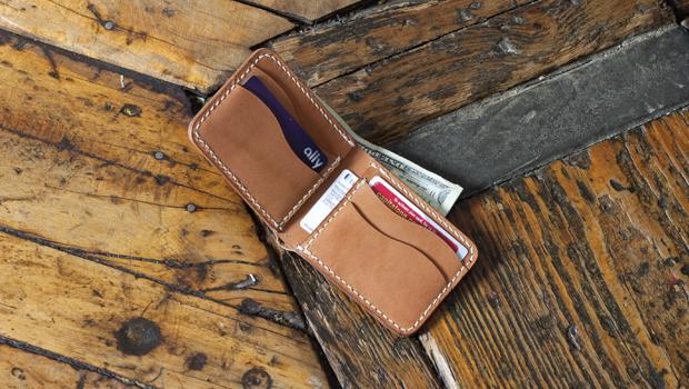 leather bi-fold wallet  hidden pockets  template